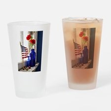 Patriotic Flowers Drinking Glass