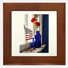 Patriotic Flowers Framed Tile