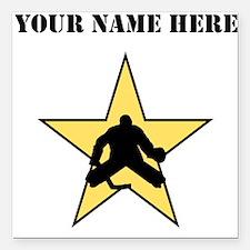 """Hockey Star (Custom) Square Car Magnet 3"""" x 3"""""""