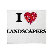 I Love Landscapers Throw Blanket