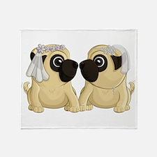 Pug Brides Throw Blanket