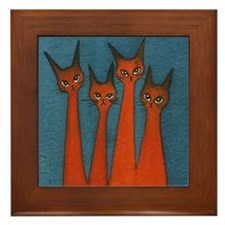 Candy Corn Stray Cats Framed Tile