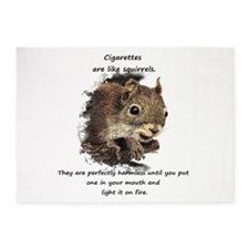 Funny Quit Smoking Squirrel Quote 5'x7'Area Rug