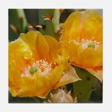 Yellow Prickly Pear Blooms Tile Coaster