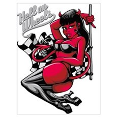 Devil Pin-Up Girl - Hell on Wheels Poster