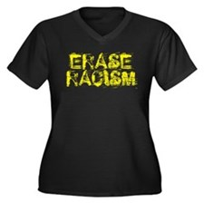 Erase Racism Women's Plus Size V-Neck Dark T-Shirt