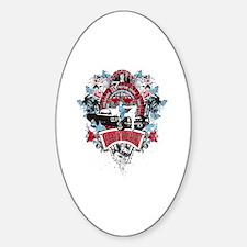 Sailor Pin Up Girl - Mustang Car Sh Sticker (Oval)