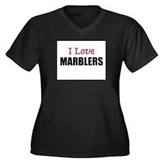 I Love MARBLERS Women's Plus Size V-Neck Dark T-Sh