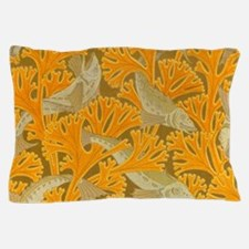 Vintage Art Deco Fish and Yellow Coral Pillow Case