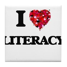 I Love Literacy Tile Coaster