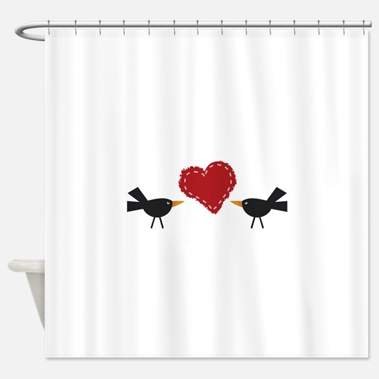 CROWS AND HEART Shower Curtain