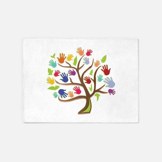 Tree Of Hands 5'x7'Area Rug