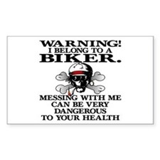 I Belong To A Biker Rectangle Decal