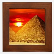 Egyptian Pyramids At Sunset Framed Tile