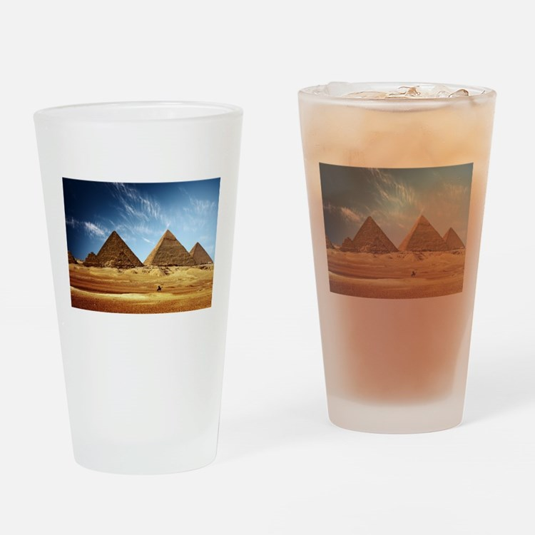 Egyptian Pyramids and Camel Drinking Glass