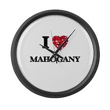 I Love Mahogany Large Wall Clock