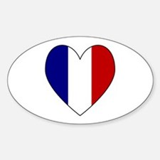 French Flag Heart Oval Decal