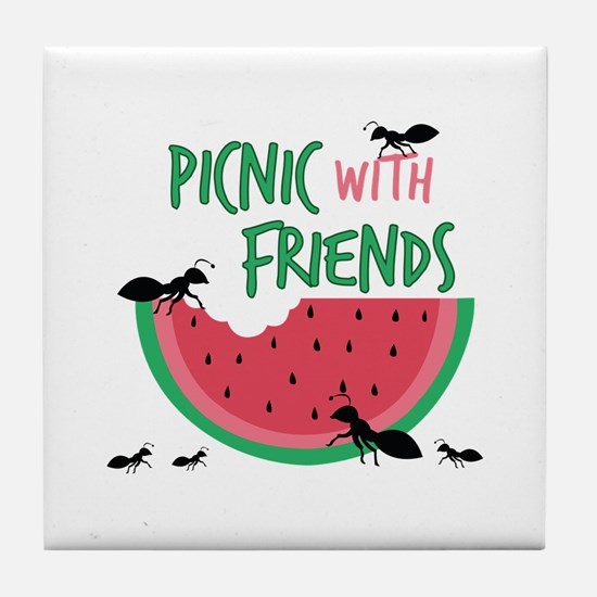 Picnic With Friends Tile Coaster