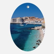 Croatia by the Beach  Oval Ornament
