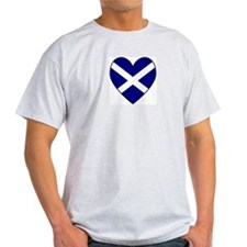 Scottish (Andrew) Flag Heart Ash Grey T-Shirt