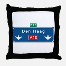 The Hague Roadmarker (NL) Throw Pillow