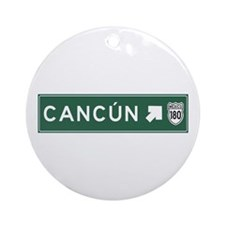 Cancun Highway Sign (MX) Ornament (Round)