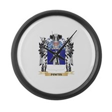 Fortis Coat of Arms - Family Cres Large Wall Clock