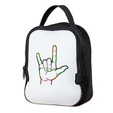 Abstract I Love You Neoprene Lunch Bag