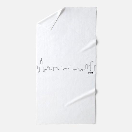 chicago skyline chi beach towel