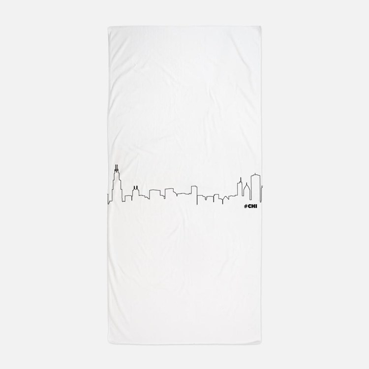 chicago skyline chi beach towel