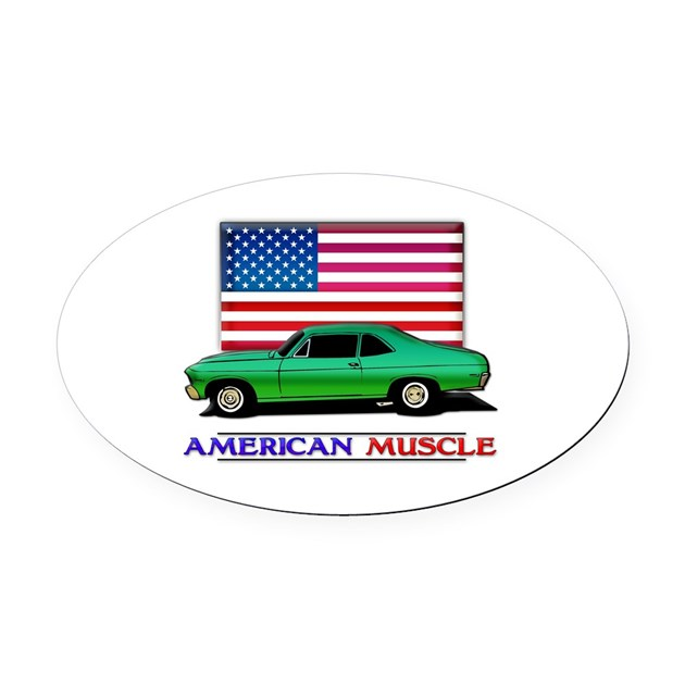 American muscle nova oval car magnet by theinternetmall for Kitchen colors with white cabinets with muscle car stickers