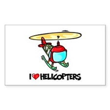 I Love Helicopter Rectangle Decal