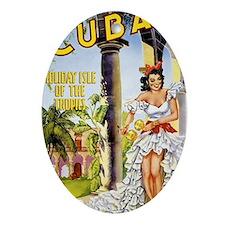 Cuba holiday isle of the tropics Vin Oval Ornament