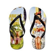 Cuba holiday isle of the tropics Vintag Flip Flops