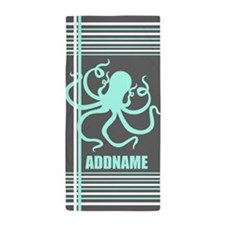 Gray Mint Octopus Stripes Personalized Beach Towel
