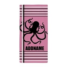 Pink and Black Octopus Stripes Persona Beach Towel