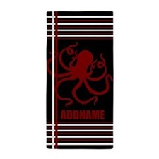 Personalized Name Red Octopus Black St Beach Towel