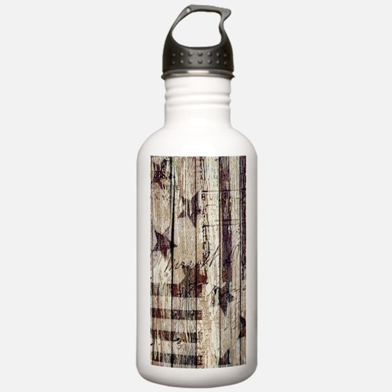 barn wood rustic Ameri Water Bottle
