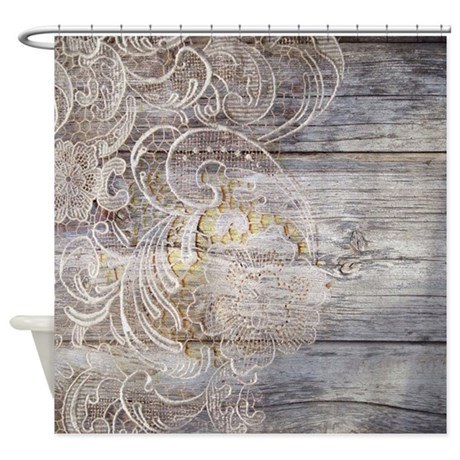 Barn Wood Lace Western Country Shower Curtain By Listing