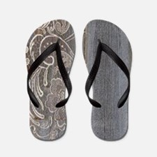 barn wood lace western country Flip Flops