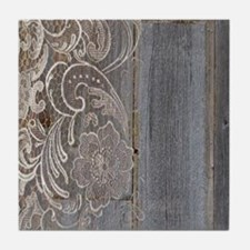 barn wood lace western country Tile Coaster