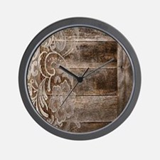 barn wood lace western country Wall Clock