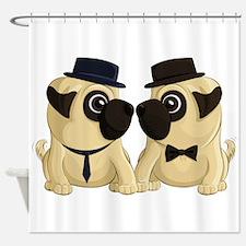 Groom Pugs Shower Curtain