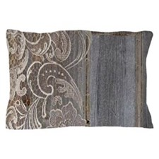 rustic country barn wood lace Pillow Case
