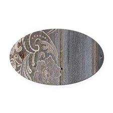 rustic country barn wood lace Oval Car Magnet