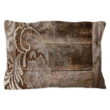 barn wood lace western country Pillow Case