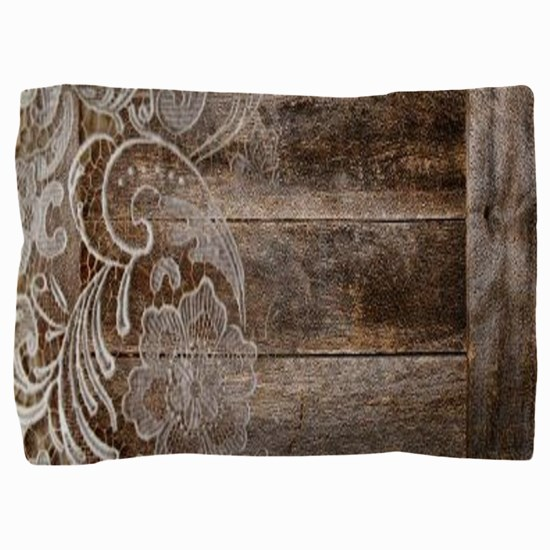 barn wood lace western country Pillow Sham