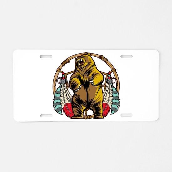 Bear Dream Catcher Aluminum License Plate
