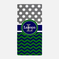 Navy Green Gray Dots Personalized Beach Towel