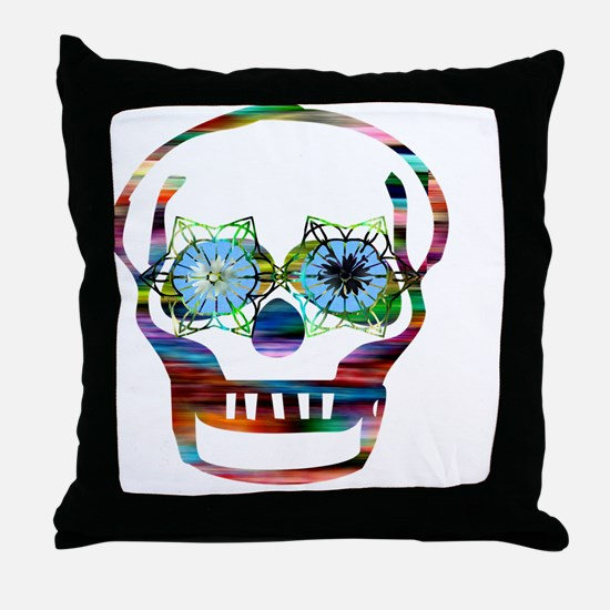 Colorful Skull Throw Pillow